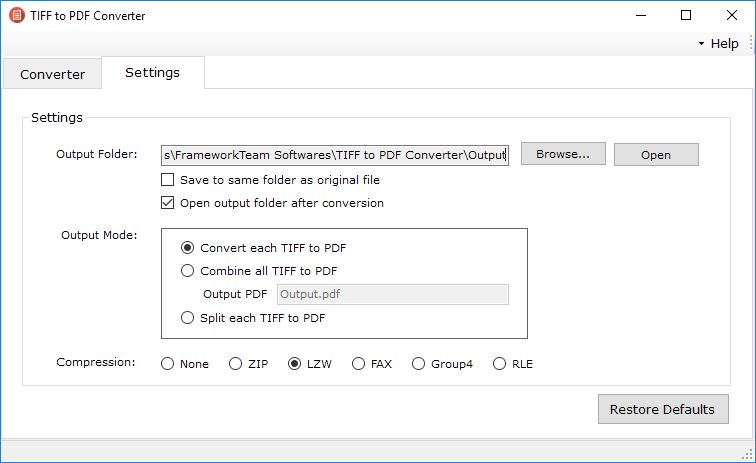 TIFF to PDF Converter Settings